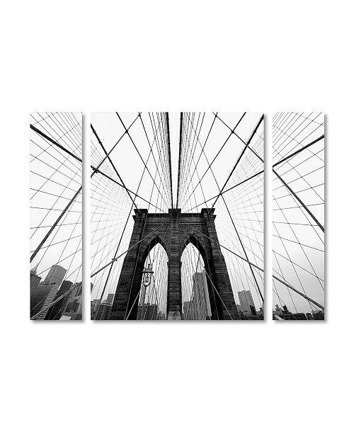 "Trademark Innovations Nina Papiorek 'NYC Brooklyn Bridge' Multi Panel Art Set Small - 32"" x 24"" x 2"""