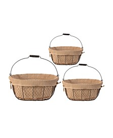 Joyce Baskets with Canvas Cloth, Oval, Set of 3