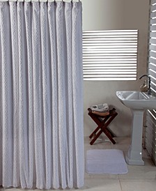 Solid Cut Pile and Waves Shower Curtain
