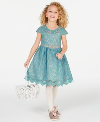 Little Girls Lace Fit & Flare Dress