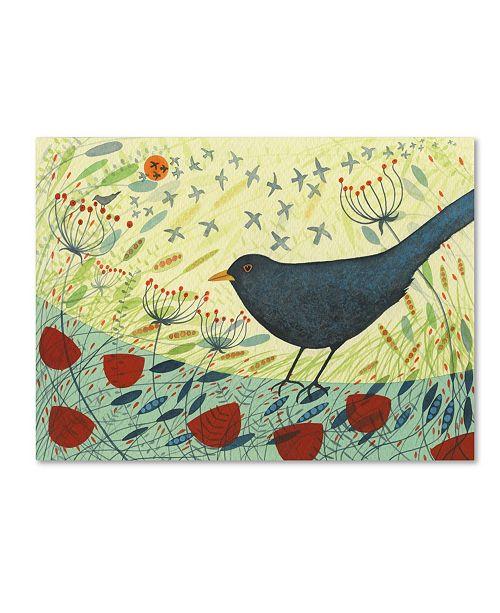 """Trademark Global Michelle Campbell 'Spring Blackbird 1' Canvas Art - 19"""" x 14"""" x 2"""""""
