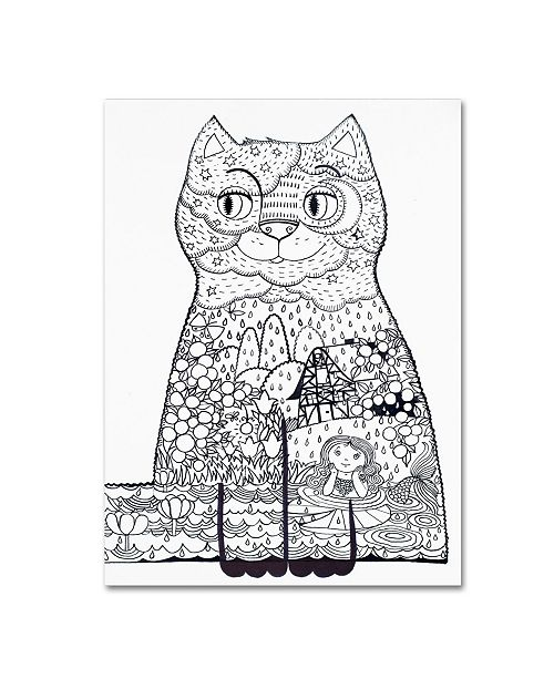 "Trademark Global Oxana Ziaka 'Night Cat 1' Canvas Art - 32"" x 24"" x 2"""
