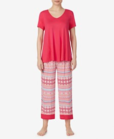 Ellen Tracy Short-Sleeve Shirt and Capri Pajama Pants Set