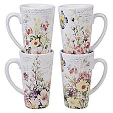 Spring Meadows 4-Pc. Latte Mugs, 16oz