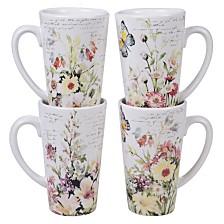 Certified International Spring Meadows 4-Pc. Latte Mugs, 16oz