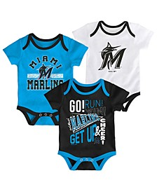 Baby Miami Marlins Newest Rookie 3 Piece Bodysuit Set