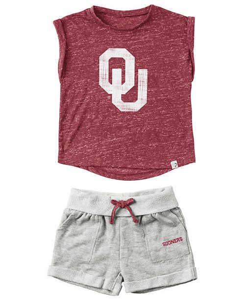 Colosseum Oklahoma Sooners Cuffed T-Shirt and Short Set