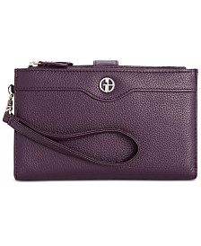 Giani Bernini Softy Leather Double Zip Tech Wristlet, Created for Macy's