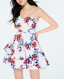 B Darlin Juniors' Strapless Double-Ruffle Dress