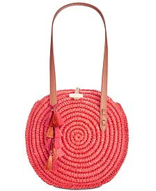 I.N.C. Straw Circle Tote, Created for Macy's