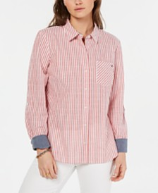 Tommy Hilfiger Roll-Sleeve Button-Up Shirt