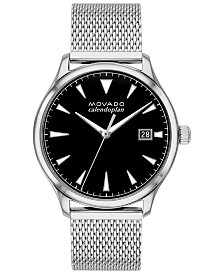 Movado Men's Swiss Heritage Stainless Steel Mesh Bracelet Watch 40mm