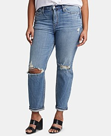 Plus Size Ripped Tapered Jeans