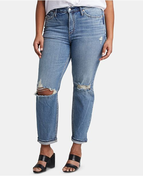 Silver Jeans Co. Plus Size Ripped Tapered Jeans