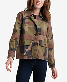 Camo-Print Utility Shirt Jacket
