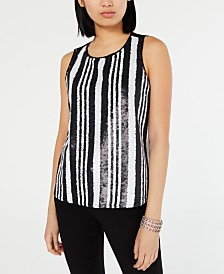 I.N.C. Striped Sequined Tank Top, Created for Macy's