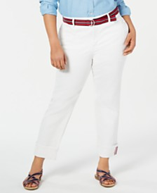 Charter Club Plus Size Belted Cuffed Jeans, Created for Macy's