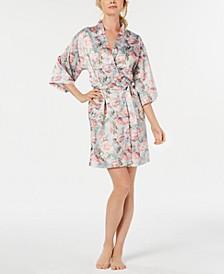 Floral-Print Satin Wrap Robe