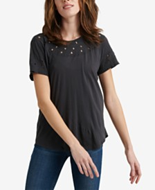 Lucky Brand Embroidered Cutout-Detail Top