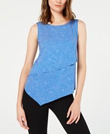 Alfani Petite Asymmetrical Overlay Top, Created for Macy's