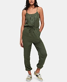 Superdry Reah Sleeveless Crochet-Trim Cotton Jumpsuit