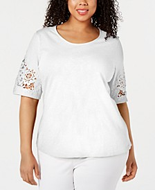 Plus Size Cotton Mesh-Appliqué Top, Created for Macy's