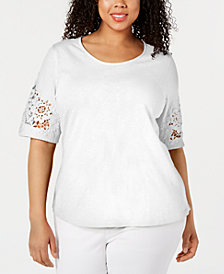 Charter Club Plus Size Cotton Mesh-Appliqué Top, Created for Macy's