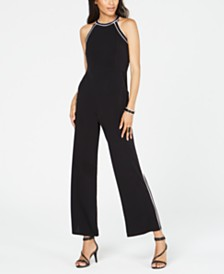 I.N.C. Petite Contrast-Piping Halter Jumpsuit, Created for Macy's