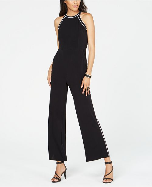 INC International Concepts INC Petite Contrast-Piping Halter Jumpsuit, Created for Macy's