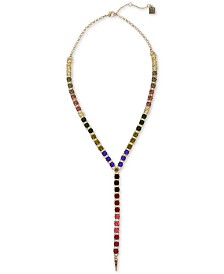 """Laundry by Shelli Segal Gold-Tone Rainbow Crystal Lariat Necklace, 16"""" + 2"""" extender"""