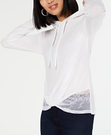I.N.C. Twisted Lace-Hem Hoodie, Created for Macy's