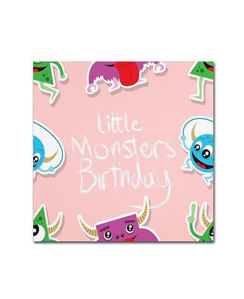 "Trademark Global Jimmy Messer 'LittleMontsterRepeat Pattern Pink' Canvas Art - 24"" x 24"" x 2"""