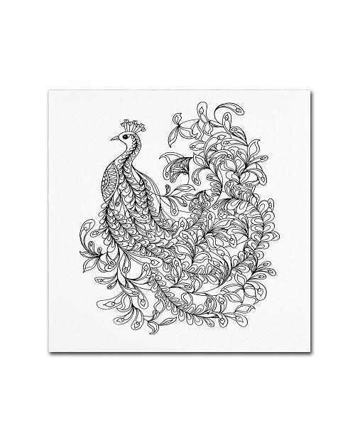 "Trademark Global The Tangled Peacock 'Fancy Peacock' Canvas Art - 18"" x 18"" x 2"""