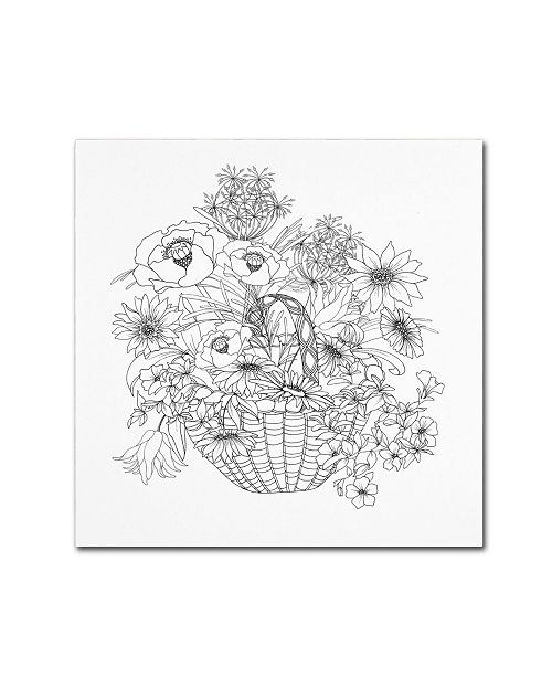 "Trademark Global The Tangled Peacock 'Flower Basket' Canvas Art - 14"" x 14"" x 2"""