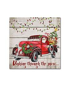 "Jean Plout 'Vintage Christmas Truck 4' Canvas Art - 18"" x 18"" x 2"""