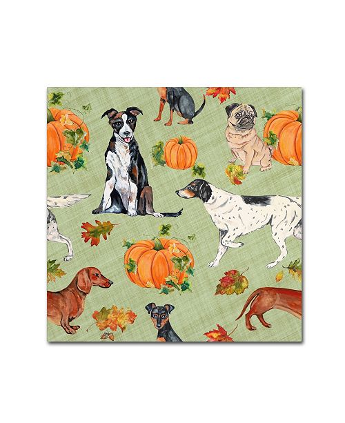 "Trademark Global Jean Plout 'Dogs In Pumpkin Patch 1' Canvas Art - 14"" x 14"" x 2"""