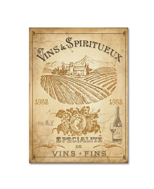 """Trademark Global Jean Plout 'Vintage French Wine Label' Canvas Art - 32"""" x 24"""" x 2"""""""