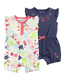 Mac and Moon 2-Pack Navy and Floral Print Flutter Sleeve Rompers