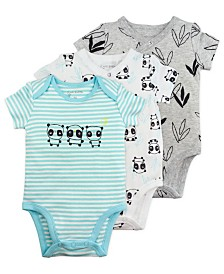 Mac and Moon 3-Pack Short Sleeve Bodysuits in Panda Prints