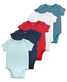 Mac and Moon 5-Pack Short Sleeve Bodysuits in Blue Tones