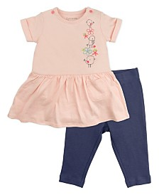 Mac and Moon 2-Piece Pink Short Sleeve Bodysuit Dress Set with Navy Leggings