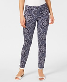 Charter Club Printed Tummy-Control Skinny Jeans, Created for Macy's
