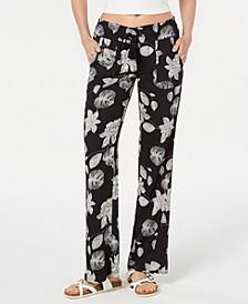 Juniors' Floral Printed Soft Pants