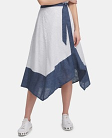 DKNY Striped Asymmetrical-Hem Skirt