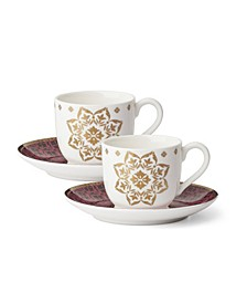 Global Tapestry Garnet Gold Set/2 Espresso Cup & Saucer