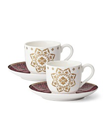 Lenox Global Tapestry Garnet Gold Set/2 Espresso Cup & Saucer