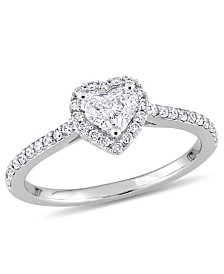 Certified Diamond (3/4 ct. t.w.) Heart and Round-Shape Engagement Ring in 14k White Gold