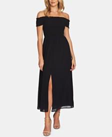 CeCe Off-The-Shoulder Shirred Dress