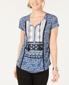 Style & Co Printed Crochet-Trim Top, Created for Macy's