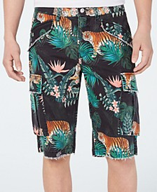 Men's Carter Stretch Wild Jungle-Print Twill Cargo Shorts